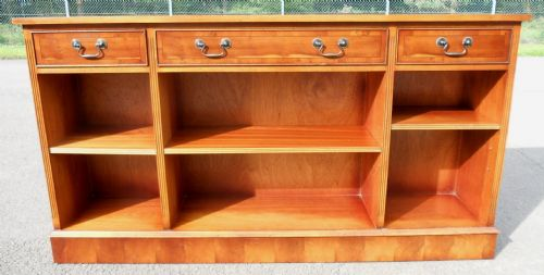 Yew Wood, Narrow, Long Open Bookcase